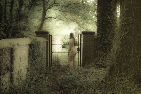 little gem standing naked in a haunted looking garden - Masturbation Monday prompt for week 266